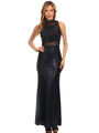 40-3180 Sequin Long Evening Dress - Black Royal, Front View Thumbnail