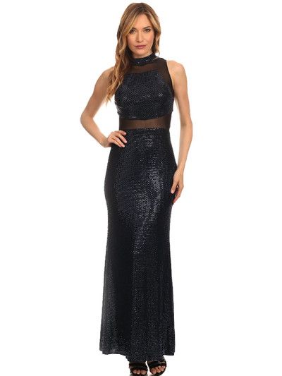 40-3180 Sequin Long Evening Dress - Black Royal, Front View Medium