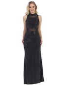 40-3180 Sequin Long Evening Dress, Black Silver