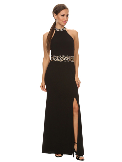 40-3189 High Neck Prom Evening Dress with Slit - Black, Front View Medium