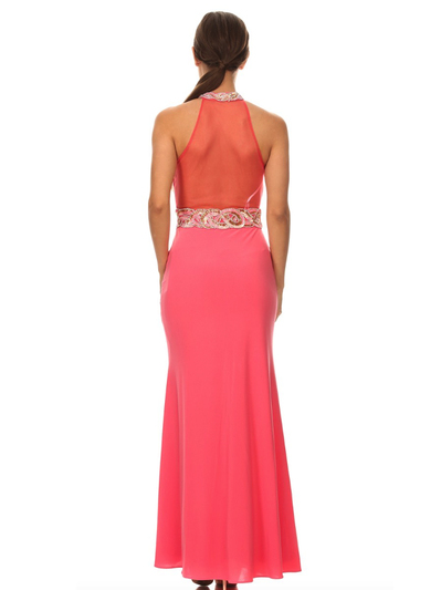 40-3189 High Neck Prom Evening Dress with Slit - Coral, Back View Medium