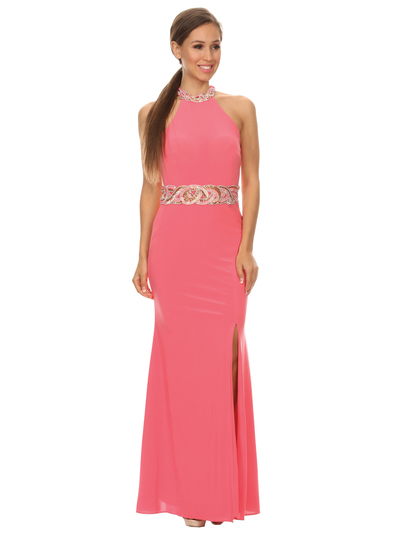 40-3189 High Neck Prom Evening Dress with Slit - Coral, Front View Medium
