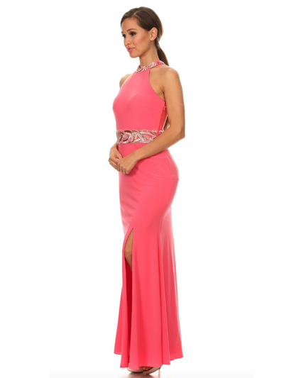 40-3189 High Neck Prom Evening Dress with Slit - Coral, Alt View Medium