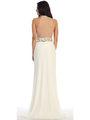 40-3189 High Neck Prom Evening Dress with Slit - Ivory, Back View Thumbnail