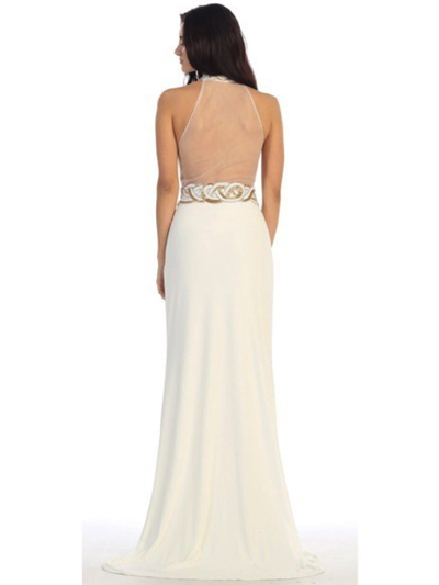 40-3189 High Neck Prom Evening Dress with Slit - Ivory, Back View Medium