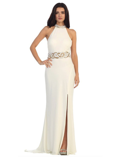 40-3189 High Neck Prom Evening Dress with Slit - Ivory, Front View Medium