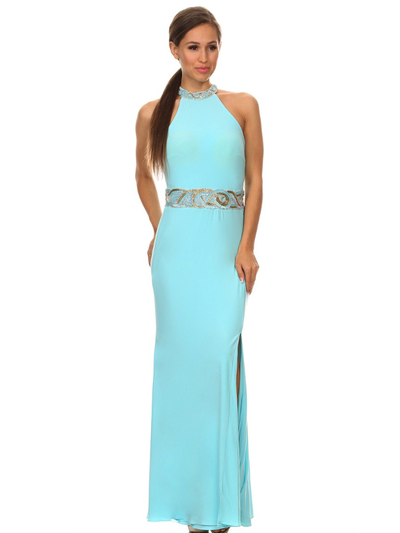 40-3189 High Neck Prom Evening Dress with Slit - Sky Blue, Front View Medium