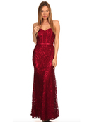 40-3194 Strapless Lace Overlay Evening Dress, Burgundy
