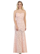40-3219 Cap Sleeve Evening Dress with Illusion Neckline, Blush
