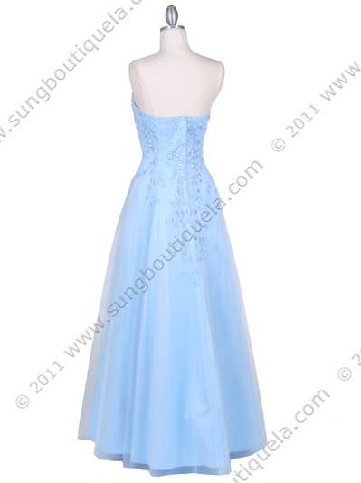 4002 Baby Blue Laced Embroidery Prom Gown - Baby Blue, Back View Medium