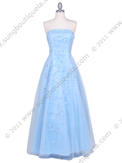 4002 Baby Blue Laced Embroidery Prom Gown - Baby Blue, Front View Medium