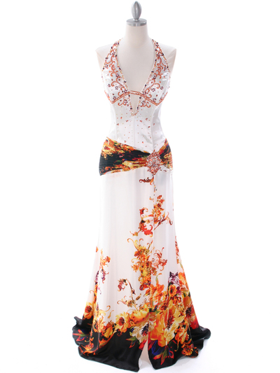 4020 White Halter Printed Evening Dress - White, Front View Medium