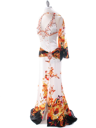 4020 White Halter Printed Evening Dress - White, Alt View Medium