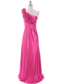 4021 Hot Pink One Shoulder Evening Dress - Hot Pink, Front View Thumbnail