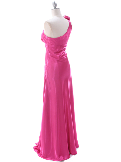 4021 Hot Pink One Shoulder Evening Dress - Hot Pink, Back View Medium