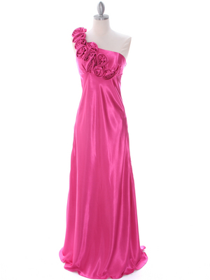 4021 Hot Pink One Shoulder Evening Dress, Hot Pink