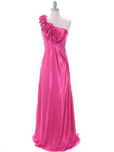 4021 Hot Pink One Shoulder Evening Dress - Hot Pink, Front View Medium