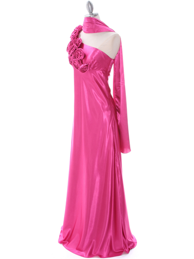 4021 Hot Pink One Shoulder Evening Dress - Hot Pink, Alt View Medium