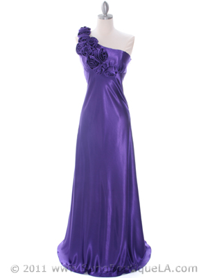 Purple One Shoulder Evening Dress - Front Image