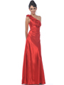 Red One Shoulder Charmeuse Evening Dress - Front Image