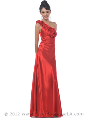 4021 One Shoulder Charmeuse Evening Dress, Red