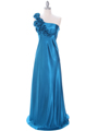 4021 Teal One Shoulder Evening Dress - Teal, Front View Thumbnail