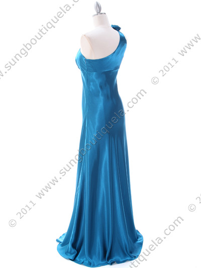 4021 Teal One Shoulder Evening Dress - Teal, Back View Medium