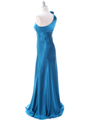 Teal One Shoulder Evening Dress - Back Image