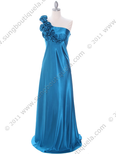 4021 Teal One Shoulder Evening Dress - Teal, Front View Medium