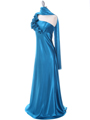 4021 Teal One Shoulder Evening Dress - Teal, Alt View Thumbnail