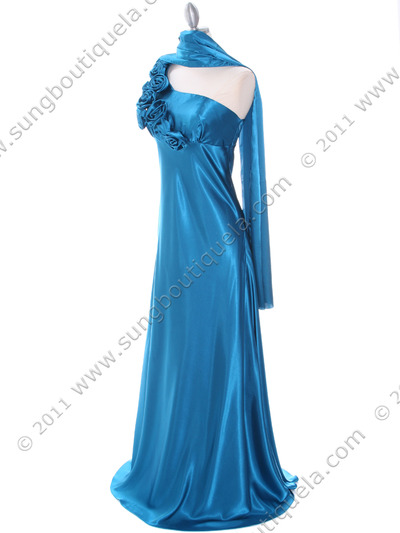 4021 Teal One Shoulder Evening Dress - Teal, Alt View Medium