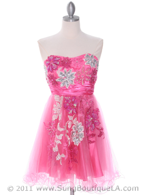 4030 Pink Strapless Homecoming Dress, Pink