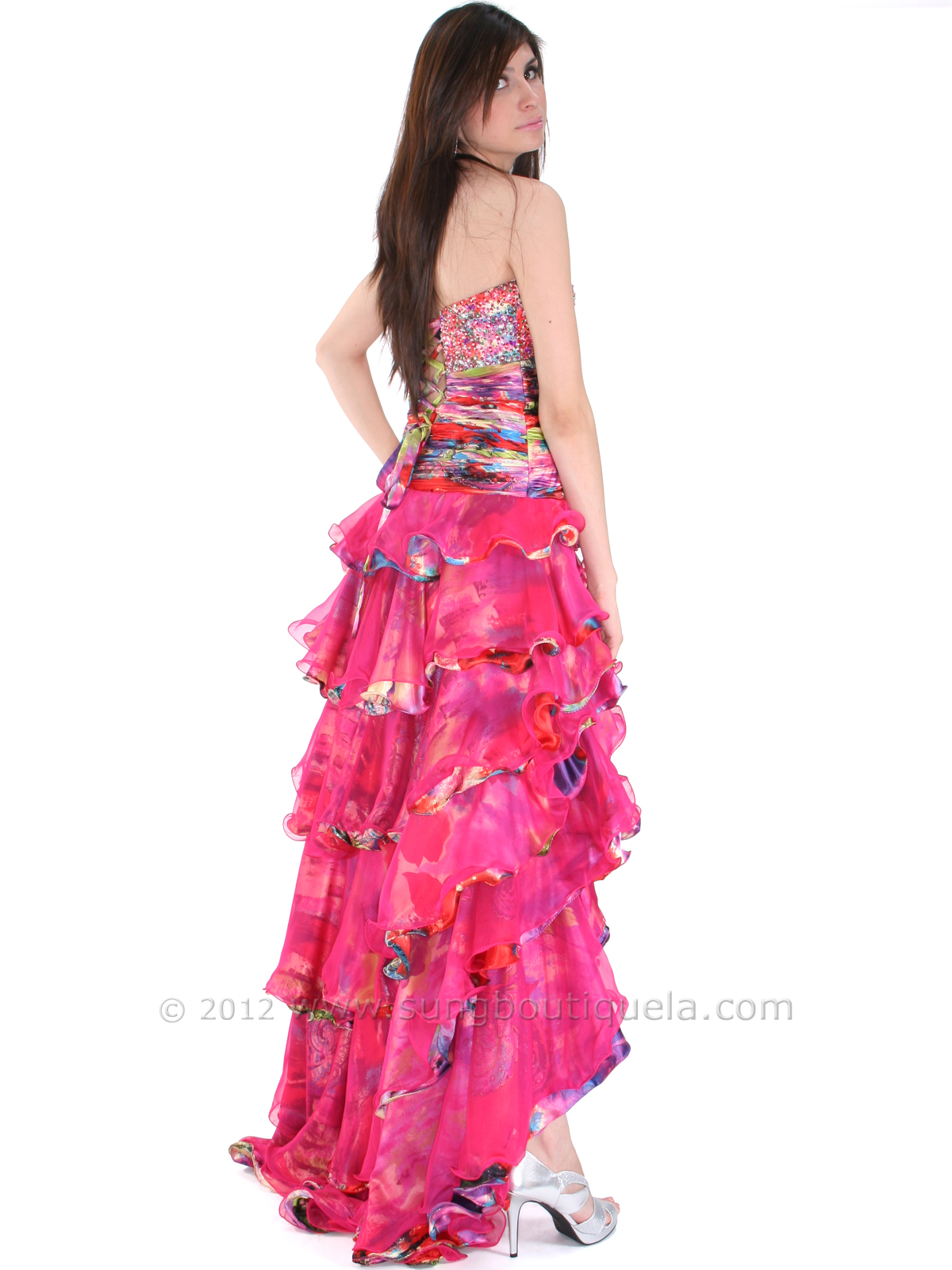 Strapless High Low Ruffle Print Prom Dress Sung Boutique