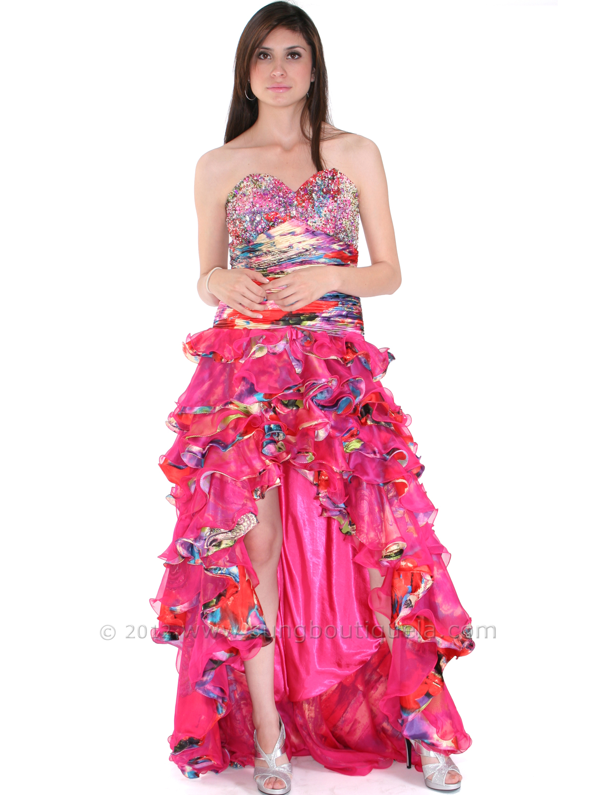 Strapless High Low Ruffle Print Prom Dress | Sung Boutique L.A.