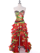 Strapless High Low Ruffle Print Prom Dress