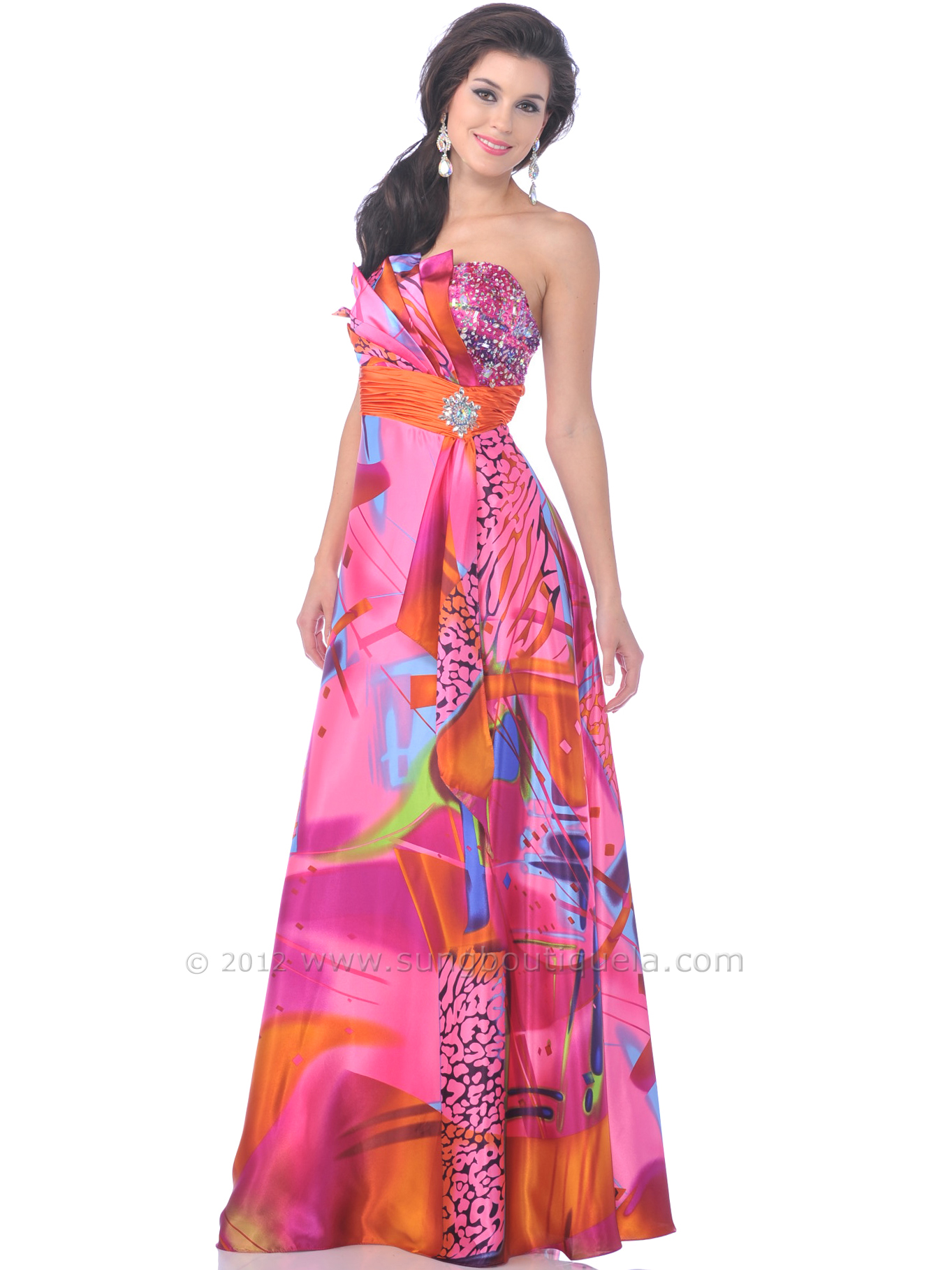 Hot Pink Strapless Print Prom Dress | Sung Boutique L.A.