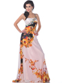 White Print One Shoulder Embellished Print Evening Dress - Front Image