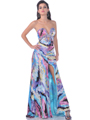 Strapless Print Evening Dress with Keyhole - Front Image