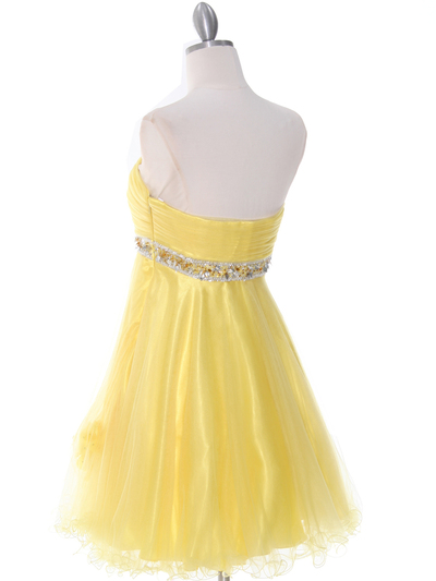4051 Yellow Cocktail Dress - Yellow, Back View Medium