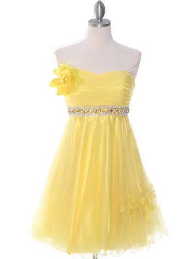 4051 Yellow Cocktail Dress - Yellow, Front View Medium
