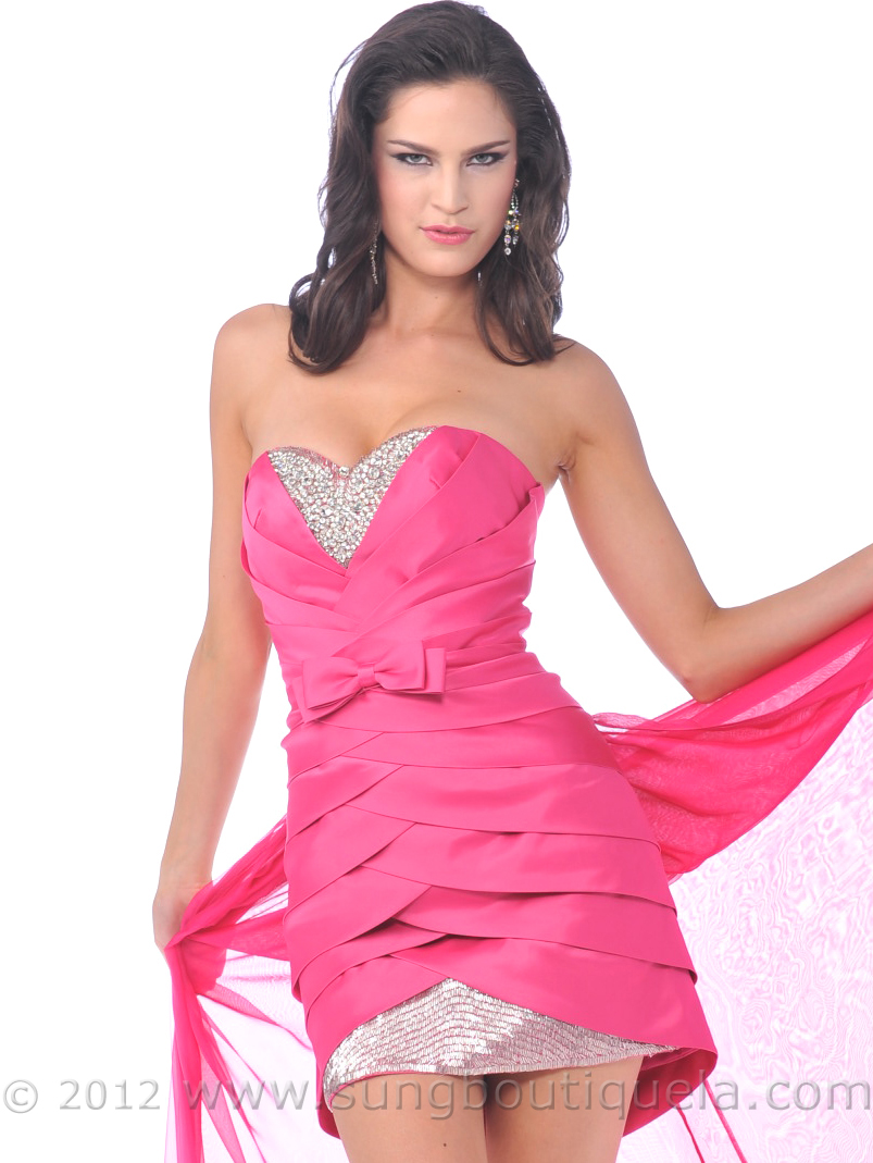 Hot Pink Strapless Short Prom Dresses with Chiffon Train | Sung ...