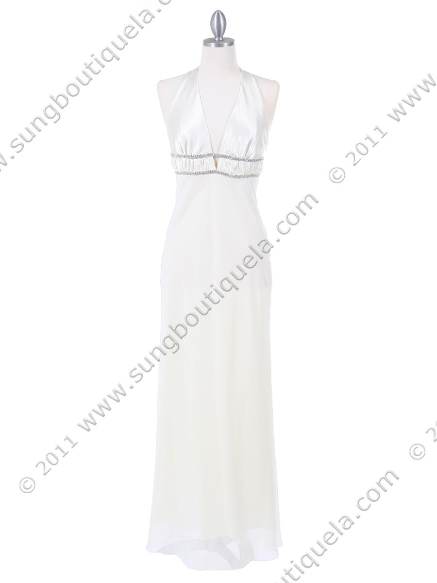 50843a8a90a 4057 Ivory Chiffon Halter Evening Dress - Ivory