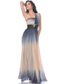 One Shoulder Chiffon Two Tone Evening Dress - Front Image