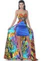 Strapless Split Front Print Short Evening Dress - Front Image