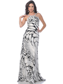 Halter Print Evening Dress