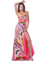 Hot Pink Strapless Print Evening Dress with Slit - Front Image
