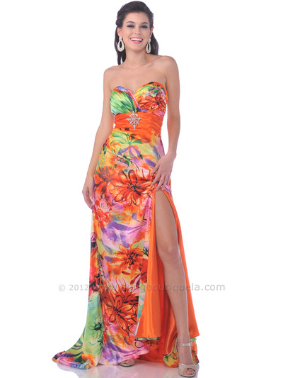 Beautiful print evening dress features dazzling pin detail the empire