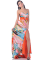 Tangerine Strapless Print Evening Dress with Slit - Alt Image