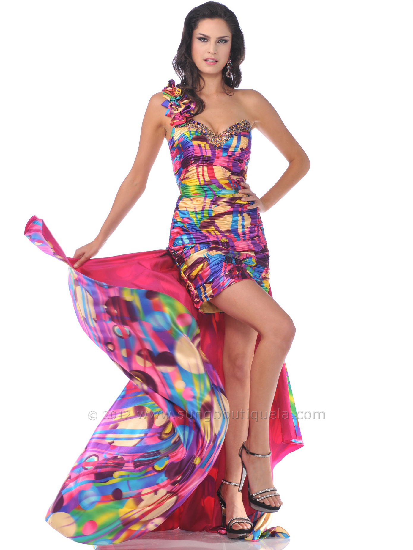 One Shoulder Floral Strap Beaded Cocktail Dress | Sung Boutique L.A.