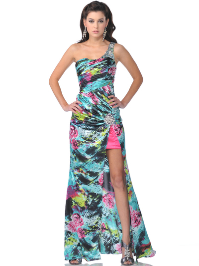 4070 Single Shoulder Print Evening Dress with Slit - Print, Front View Medium
